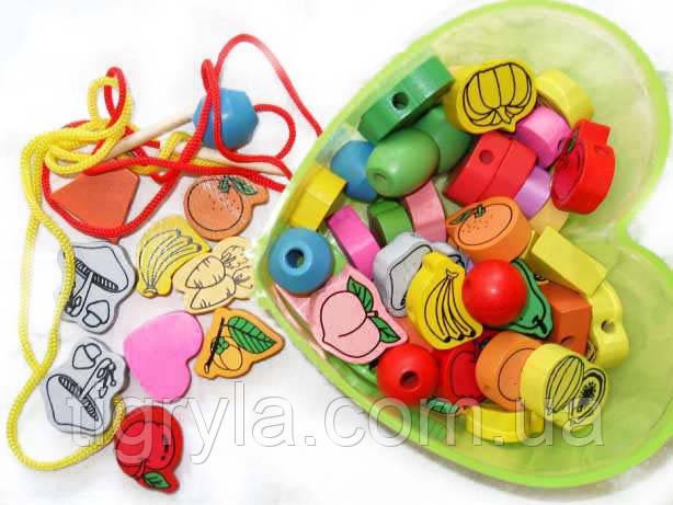 Деревянные бусины  Шнуровка в чемодане - зверюшки, овощи - Деревянная игрушка