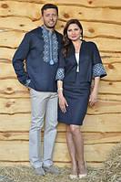 Вышиванка мужская и женский жакет с юбкой из синего льна