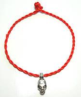 Браслет красная нить крученая череп без застежки