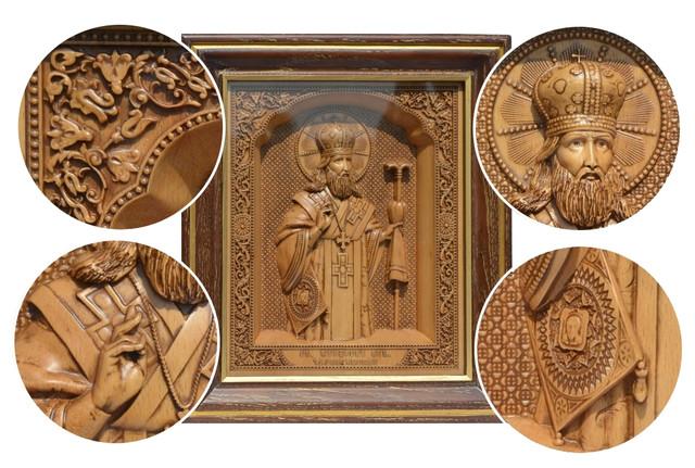 икона резная деревянная феодосия черниговского