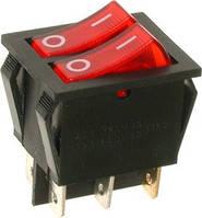 Переключатель с подсветкой IRS-2101-1А ON-OFF, 6pin, 15A, 220V, красный