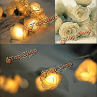 Белая роза цветочная фея строку LED света свадьба магазин дизайн