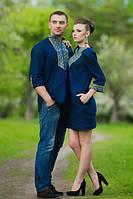 Вышиванка мужская и женское платье с рукавом 3/4 из синего льна