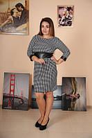 Женское платье с кожаными вставками француз батал