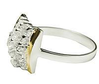 Женское серебряное кольцо с золотыми пластинами Шахматка.