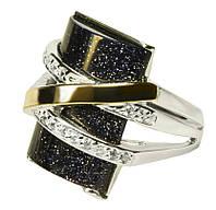 Женское серебряное кольцо с золотыми пластинами Оливия ночь Каира.