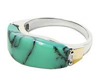 Женское серебряное кольцо с золотыми пластинами Ника.
