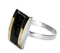 Женское серебряное кольцо с золотыми пластинами арт. uk126.