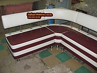 Бордовый диван для кухни с 2-мя ящиками и угловой спинкой , фото 1