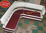 Бордовый диван для кухни с 2-мя ящиками и угловой спинкой