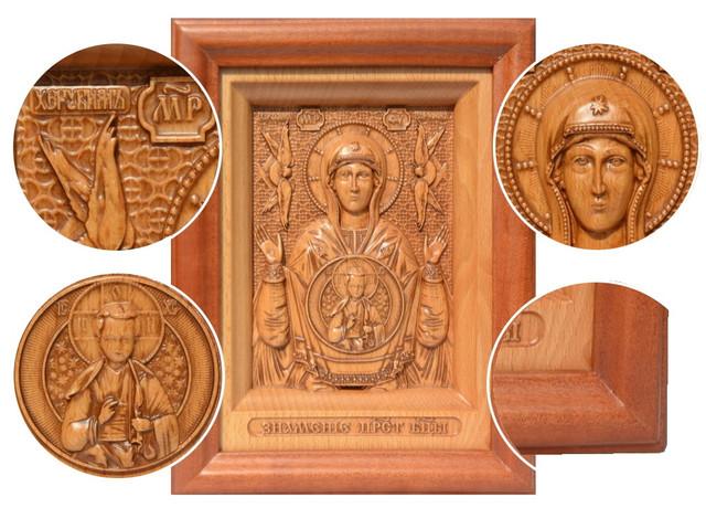 икона резная деревянная пресвятой богородицы божьей матери знамение