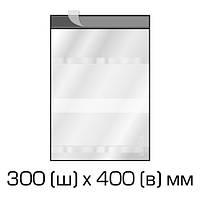 Курьерские полиэтиленовые пакеты 300х400 мм + 40 мм (клапан) с прозрачным окном для документов