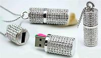 USB Флешка ювелирная со стразами в виде цилиндра 8 Гб