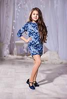 Детское модное платье облегающее с рукавом 3/4  принт губки 275/1