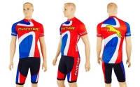 Велокостюм PALTHER NA-1392 (веломайка корот.рукав, велошорты, р-р XL-2XL, красно-синий)