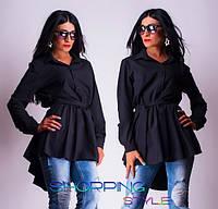 Блуза удлиненная с поясом, Ткань супер софт ,Цвета Черный и белый, фото реал ал №08239