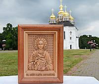 Икона деревянная резная Пантелеймона Целителя, фото 1