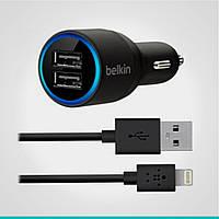 Автомобильное зарядное устройство Belkin 2 USB-порта + кабель Lightning