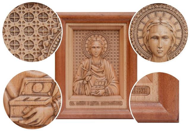 икона резная деревянная пантелеймона целителя