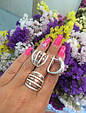 Серебряный комплект: кольцо и серьги с золотом и фианитами , фото 2