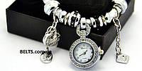 Женские часы-браслет Pandora, кожаный браслет с часами Пандора (белые)