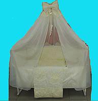 """Постельный набор в детскую кроватку """"Жаккард"""" чемоданчик бежевый 9эл."""