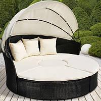 Круглая кровать шезлонг из ротанга