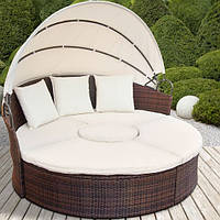 Кровать круглая из ротанга