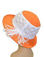 Шляпка панамка детская Ялта кружева оранжевая