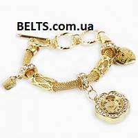 Женские часы-браслет Pandora, кожаный браслет с часами Пандора (золотистые)