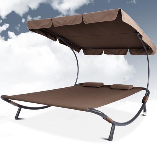 Садовый лежак гамак с навесом капучино