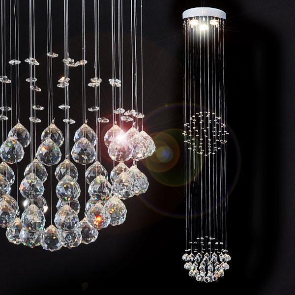 Люстра с кристаллами для высокой комнаты (с пультом)
