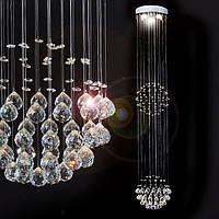 Люстра с кристаллами для высокой комнаты (с пультом), фото 1