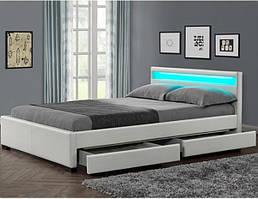 Кровать двуспальная LYON из екокожи 180х200 см. LED