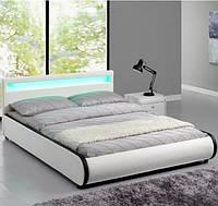 Елегантная кожаная кровать SEVI 180х200 см. с LED подсветкой