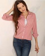 Рубашка женская в клетку модная весна 2016