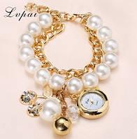Очаровательные жемчужные наручные часы-браслет