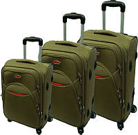 Комплект чемоданов 3-йка на четырёх прорезиненных колёсах