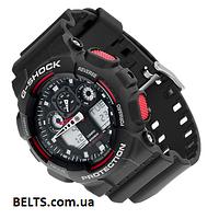 Спортивні чоловічі наручні годинники Casio G-Shock (Касіо Джі Шок) – чорно-червоні