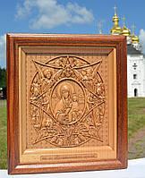 Икона деревянная резная Божией Матери Неопалимая Купина, фото 1