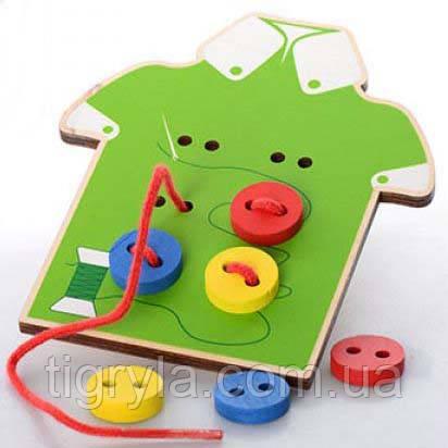 Деревянная игрушка шнуровка рубашка с пуговицами. Пришей пуговичку, фото 2