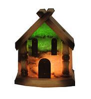 """Соляной светильни """"Домик"""" 5-6 кг с цветной лампочкой"""