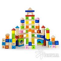 Набор кубиков Viga Toys Алфавит и числа (100 шт., 3 см.) 50288