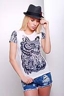 Женская футболка из натуральной ткани с печатным рисунком