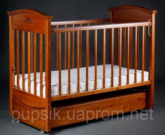 Кроватка детская Наполеон VIP (ящик + продольный маятник) орех, Ласка-М