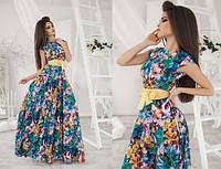 Платье женское в пол синие в цветах ТК/-1076