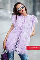 Роскошная женская асимметричная жилетка из искуственного меха яка в разных цветах