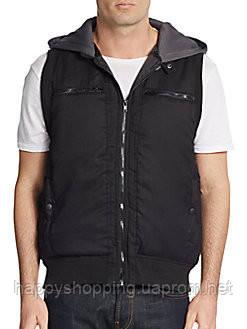 Мужская черная безрукавка  жилетка с капюшоном на молнии  американского бренда Saks Fifth Avenue