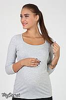 Лонгслив для беременных и кормящих Sonya, серый меланж с серо-белой полоской