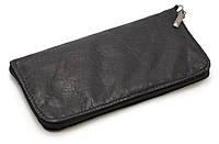 Удобный черный чехол-футляр для телефона на молнии кожа
